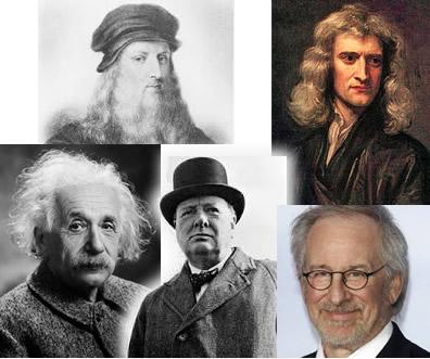 Steven Speilburg, Winson Churchille, Newton, DaVinci, Einstein